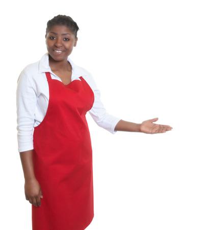 salesgirl: African american waitress inviting guests Stock Photo