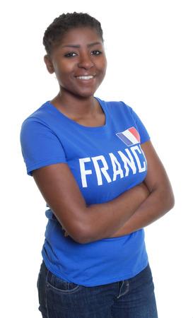 international basketball: Happy female sports fan from France
