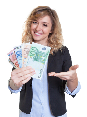 profit celebration: Beautiful woman with blonde hair and money Stock Photo