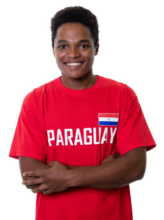 international basketball: Laughing sports fan from Paraguay