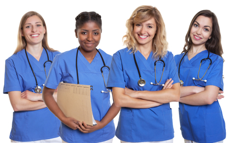 Group of four nurses Stock Photo