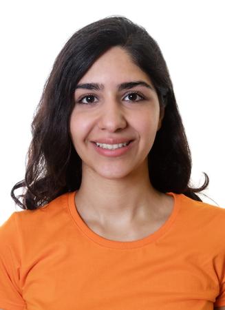 foto carnet: foto de pasaporte de una mujer joven árabe Foto de archivo