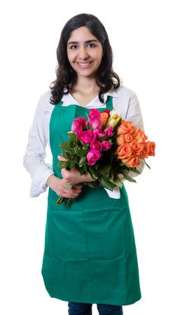 Laughing arabic female florist