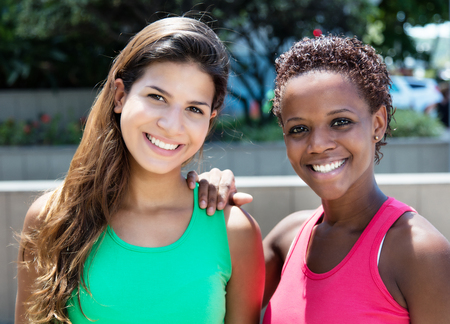 african american woman: Beautiful african american and caucasian woman Stock Photo