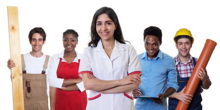 Lachen arabisch apotheker met een groep van andere internationale leerlingen