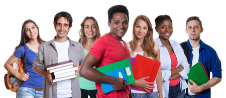 african student: Laughing african american male student with group of students Stock Photo