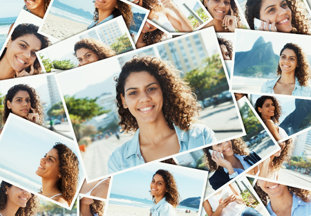 latina america: Collage of a happy latin woman with curly hair