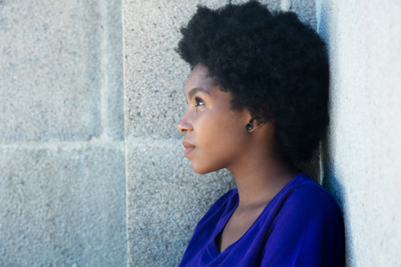 Thoughtful african american woman with copy space