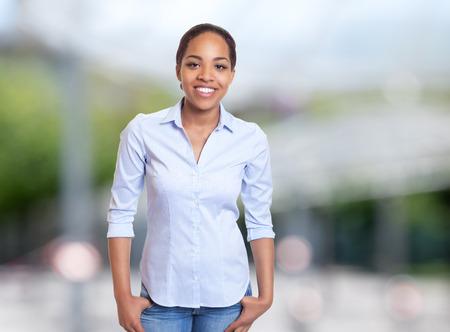 Joyful african american businesswoman outdoors in summer Stock Photo