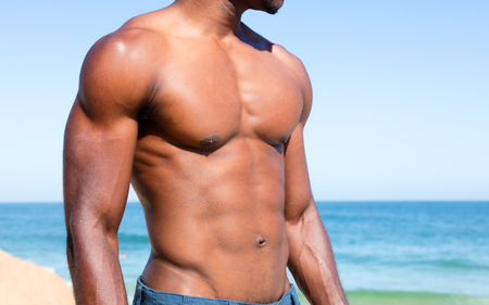 Body of muscular man with copy space Stock Photo