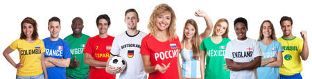 Soccer fan from Russia with supporters from other countries