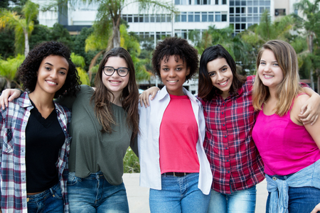 Group of beautiful latin and caucasian and african american girls