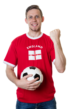 Cheering english soccer fan with ball