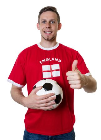English soccer fan with ball shooting thumb