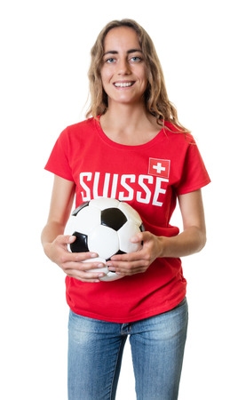 Laughing soccer fan from Switzerland with ball Stock Photo