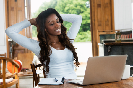 Relaxing african american woman with long hair at computer