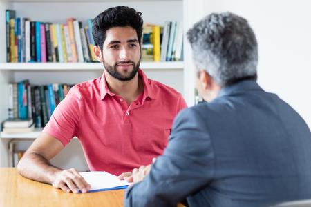 Job interview of turkish male apprentice