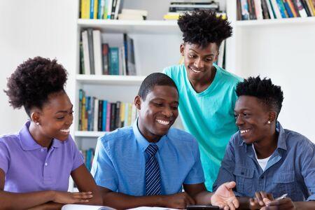 African american professor teaching students
