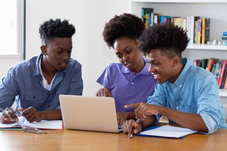 African american students learning coding