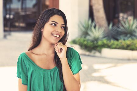 Beautiful latin american young adult woman with long dark hair Stockfoto
