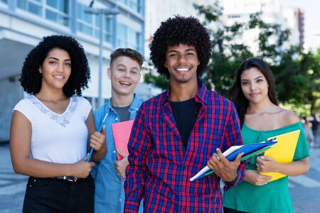 African american student with group of latin and hispanic and caucasian students Stockfoto