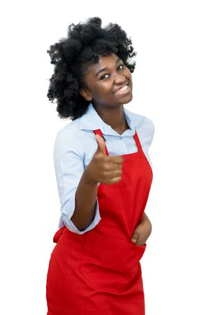 African american waitress with red apron showing thumb up