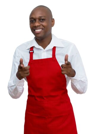Attractive african american waiter with red apron Standard-Bild