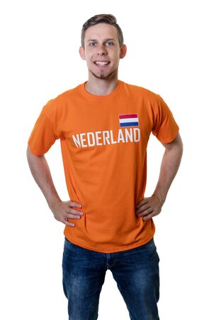 Laughing soccer fan from the Netherlands