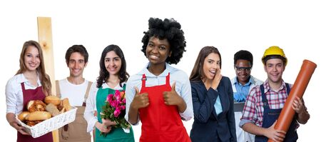 Laughing african american waitress with group of international apprentices