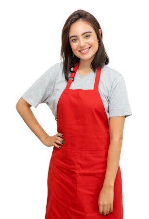 Hübsche kaukasische Kellnerin mit roter Schürze