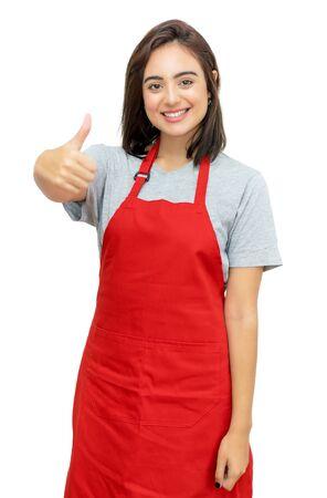 Happy caucasian waitress with red apron Foto de archivo