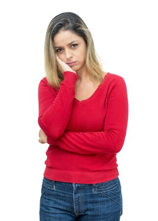 Sad blond mature adult woman with pullover