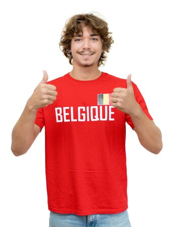 Happy football supporter with jersey from Belgium Banque d'images