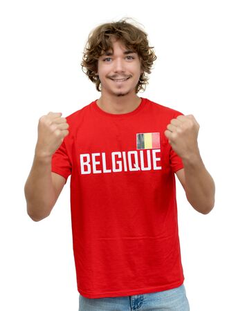 Cheering football supporter with jersey from Belgium