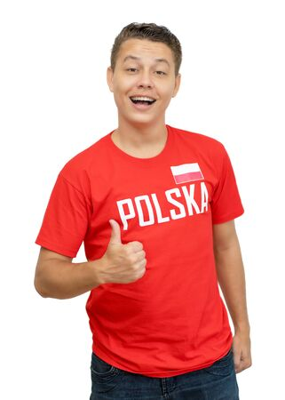 Cheerful soccer fan with jersey from Poland Stockfoto