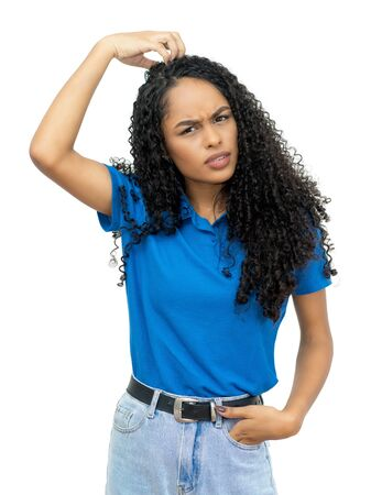 Latin american young adult woman dont understand Standard-Bild
