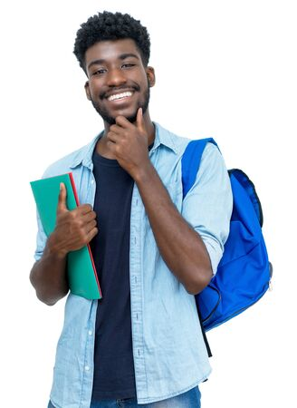 Joyful laughing african american male student with beard