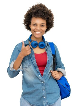 Afro american female college student showing thumb up