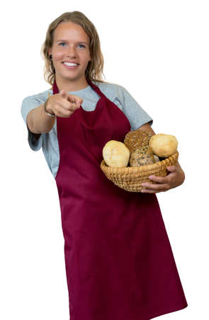 Laughing blond woman with bread rolls from the bakery Archivio Fotografico