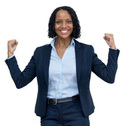 Cheering mature adult afro american businesswoman