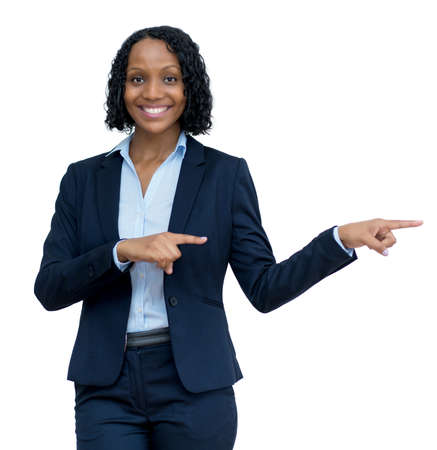 Mature adult afro american businesswoman pointing sideways
