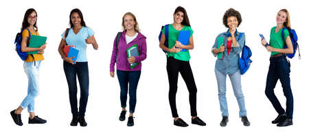 Mixed group of 6 pretty laughing female students