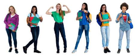 Group of 6 laughing female students Zdjęcie Seryjne