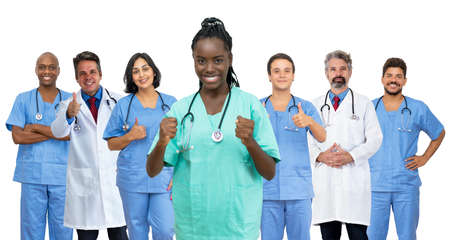Pretty afro american female nurse with doctor and medical team
