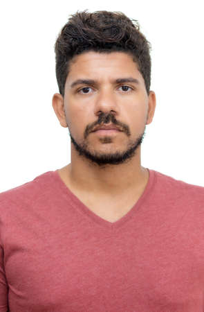 Passport photo of latin american man with beard on isolated white background for cut out