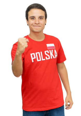 Happy football supporter from Poland 免版税图像