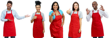 Group of 5 laughing latin american and african and caucasian waiters and waitresses isolated on white background for cut out