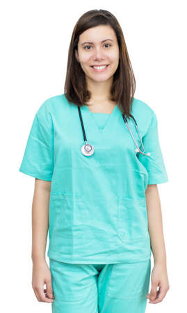 Beautiful german female nurse with long hair
