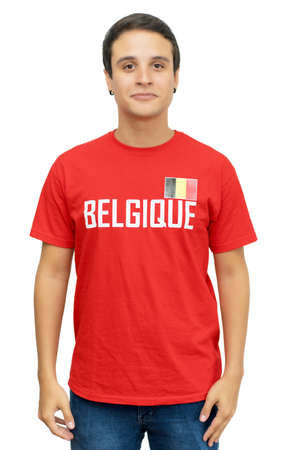Young belgian football fan with short hair isolated on white background for cut out