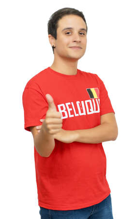 Handsome belgian football fan with short hair isolated on white background for cut out